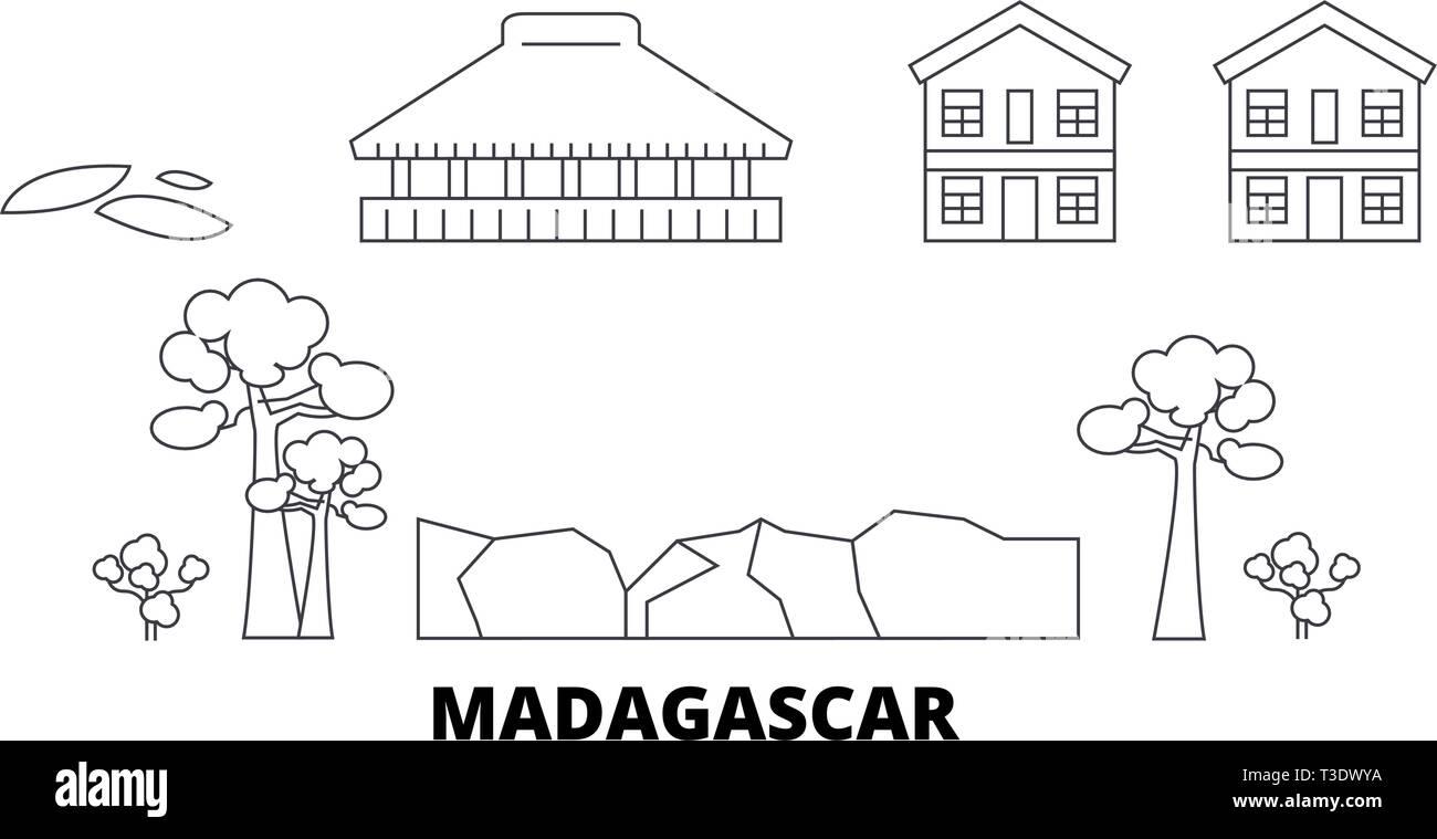 Madagascar line travel skyline set. Madagascar outline city vector illustration, symbol, travel sights, landmarks. - Stock Vector