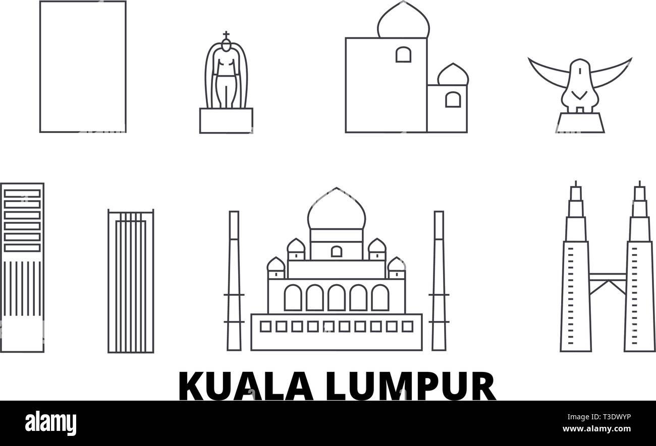 Malaysia, Kuala Lumpur line travel skyline set. Malaysia, Kuala Lumpur outline city vector illustration, symbol, travel sights, landmarks. - Stock Vector