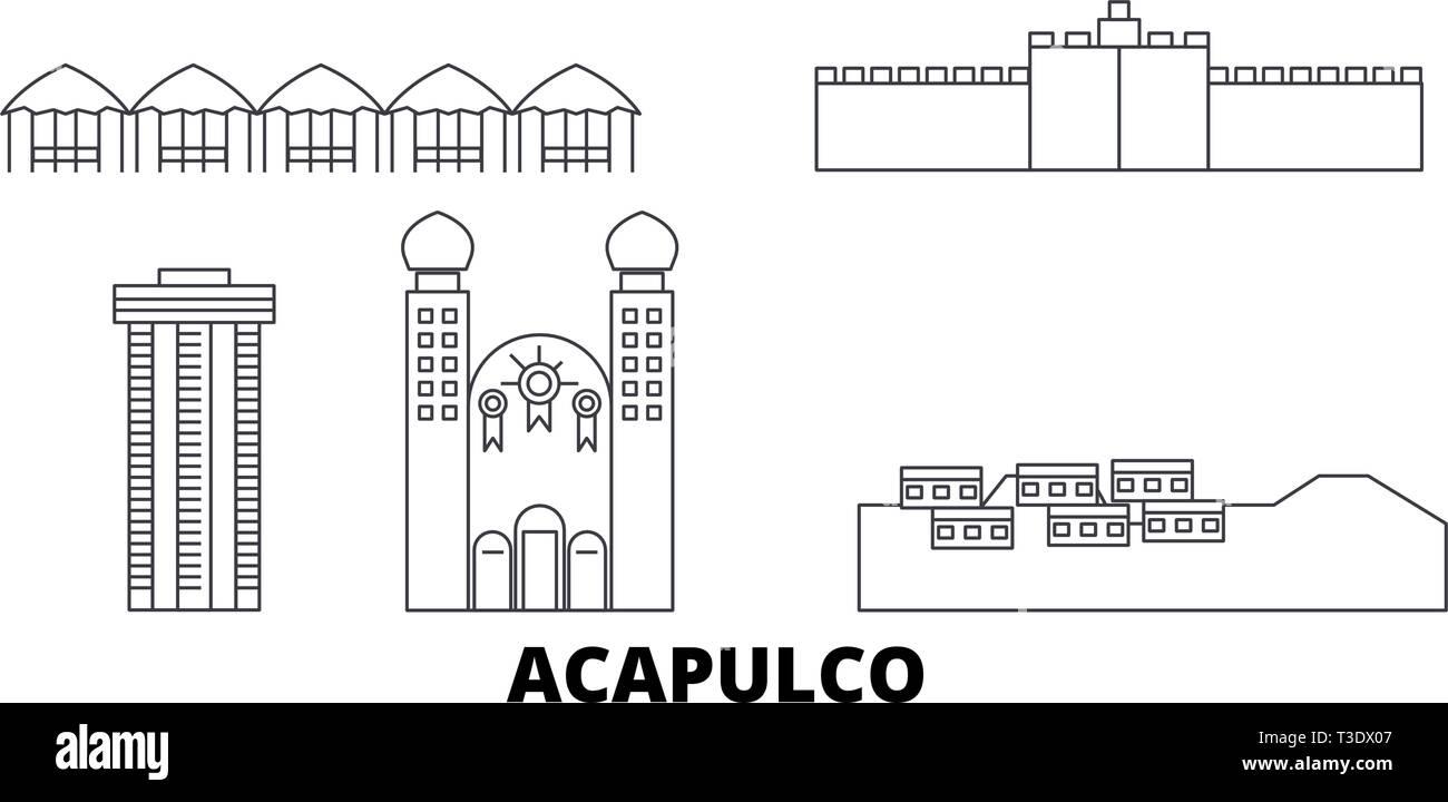 Mexico, Acapulco line travel skyline set. Mexico, Acapulco outline city vector illustration, symbol, travel sights, landmarks. - Stock Vector