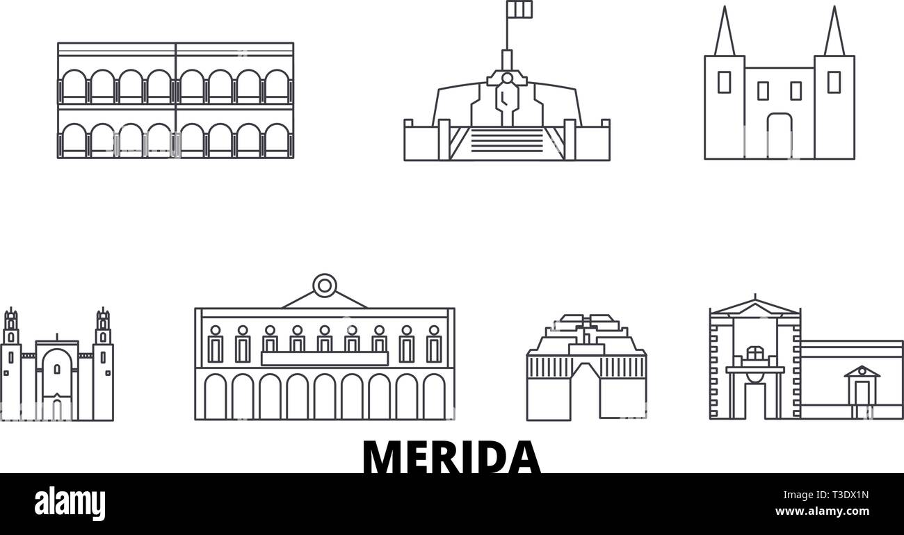 Mexico, Merida line travel skyline set. Mexico, Merida outline city vector illustration, symbol, travel sights, landmarks. Stock Vector