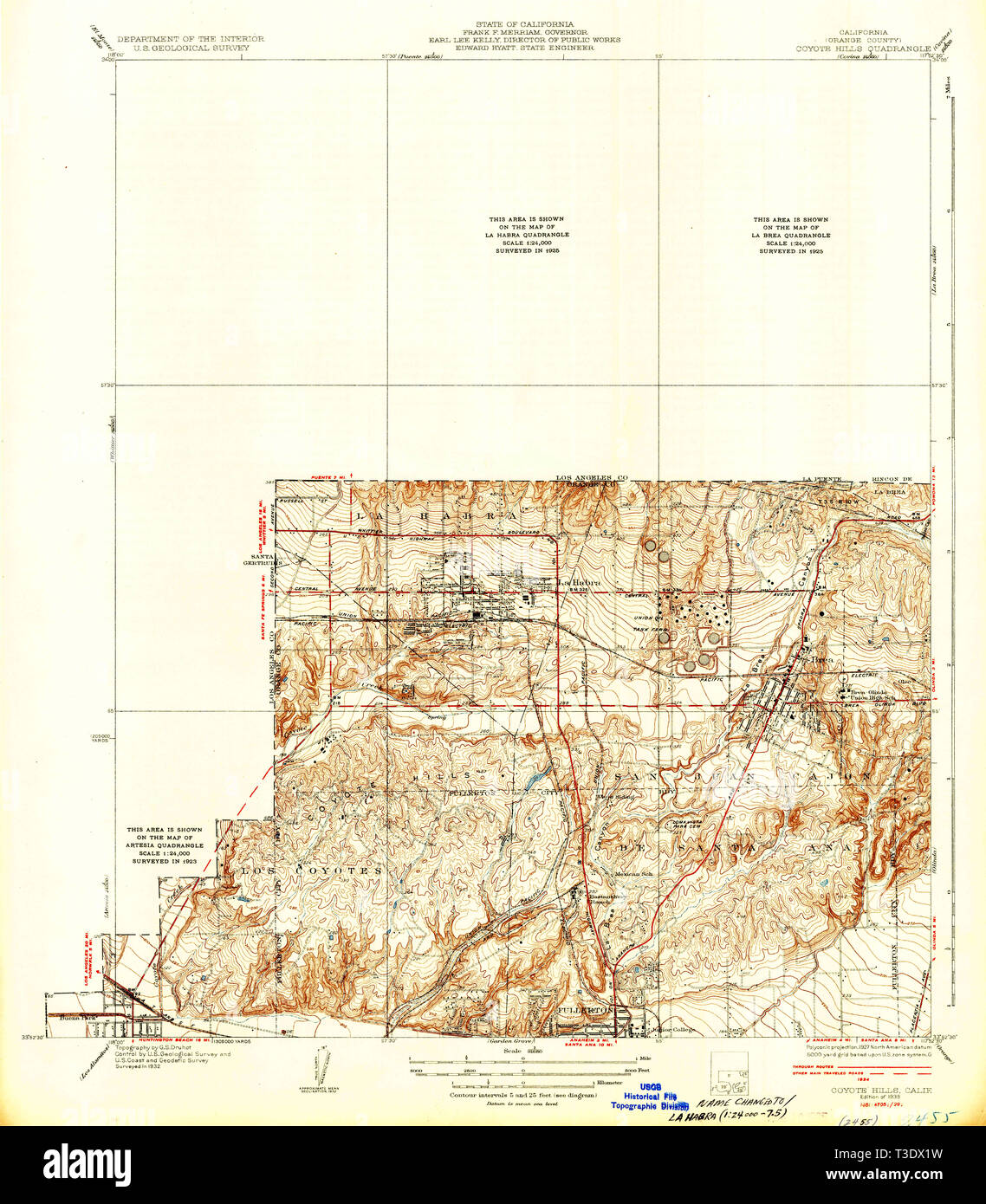 USGS TOPO Map California CA Coyote Hills 296028 1935 31680
