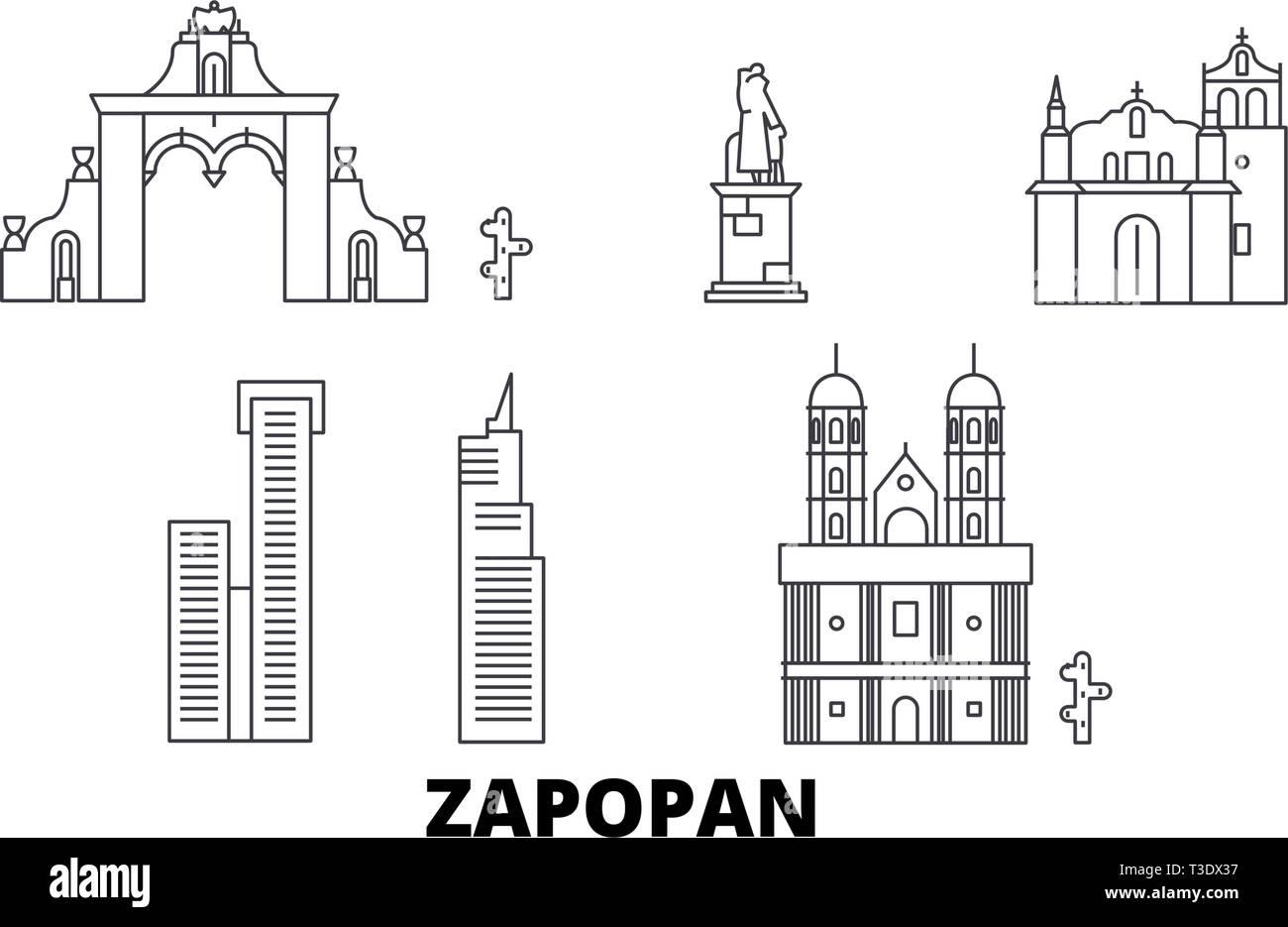 Mexico, Zapopan line travel skyline set. Mexico, Zapopan outline city vector illustration, symbol, travel sights, landmarks. - Stock Vector