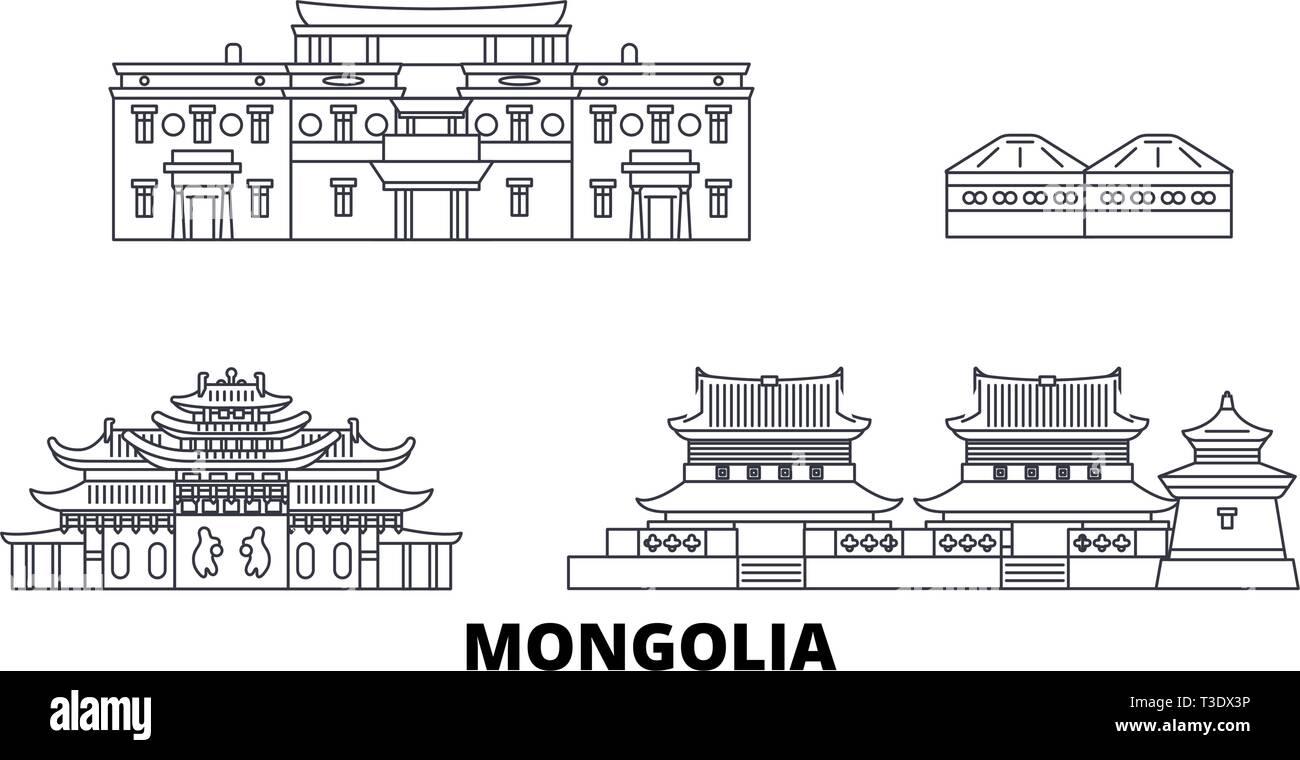 Mongolia line travel skyline set. Mongolia outline city vector illustration, symbol, travel sights, landmarks. - Stock Vector