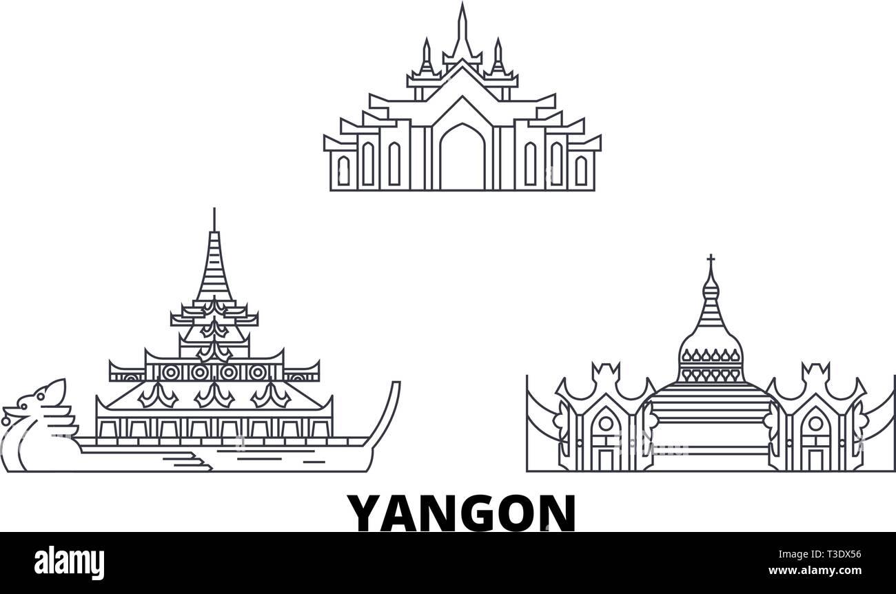 Myanmar, Yangon line travel skyline set. Myanmar, Yangon outline city vector illustration, symbol, travel sights, landmarks. - Stock Vector