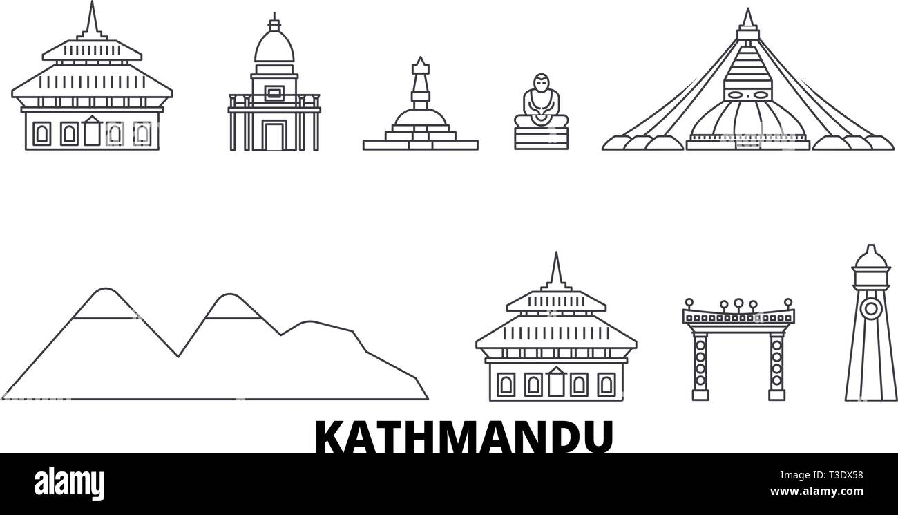 Nepal, Kathmandu line travel skyline set. Nepal, Kathmandu outline city vector illustration, symbol, travel sights, landmarks. - Stock Vector