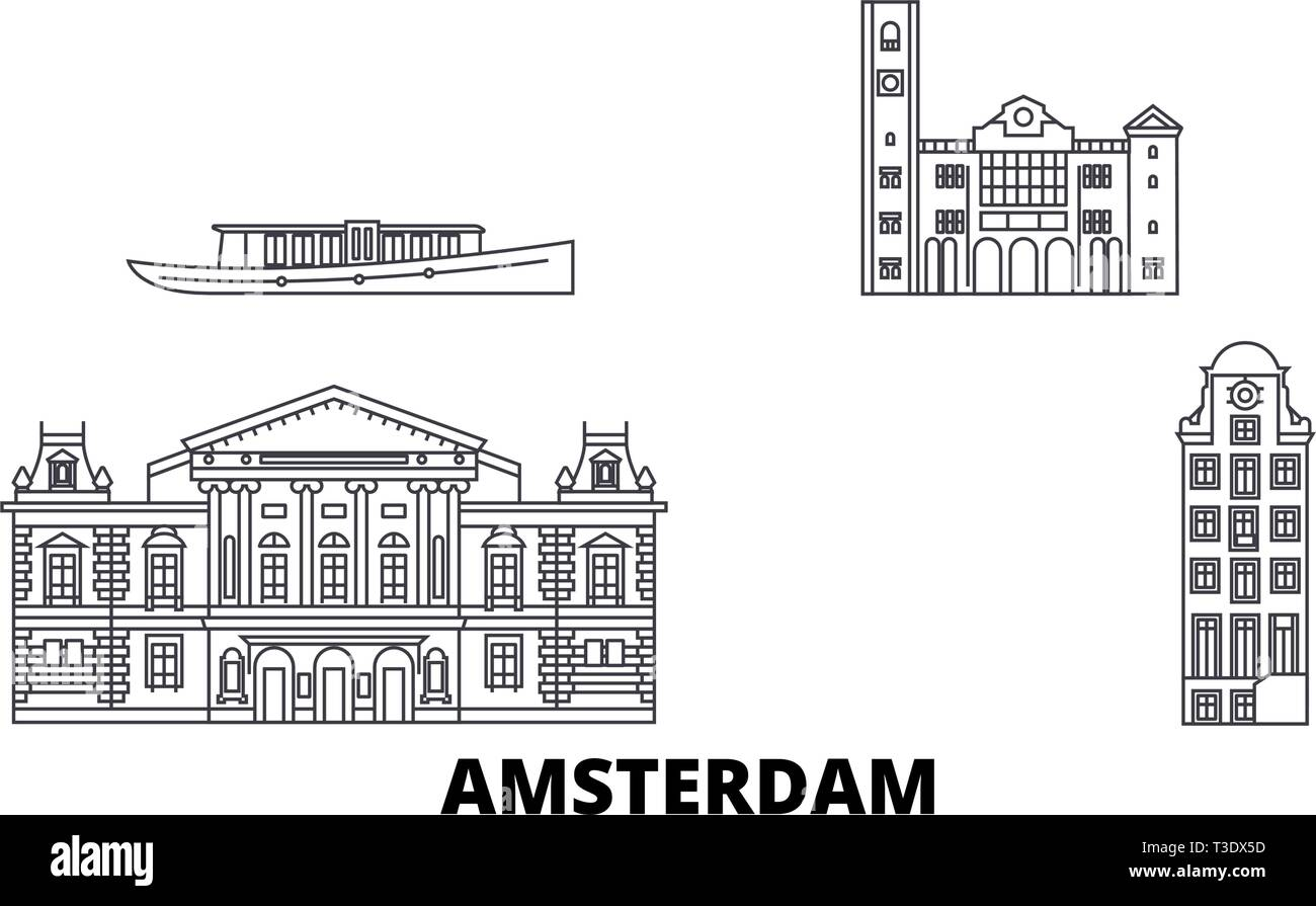 Netherlands, Amsterdam line travel skyline set. Netherlands, Amsterdam outline city vector illustration, symbol, travel sights, landmarks. - Stock Vector