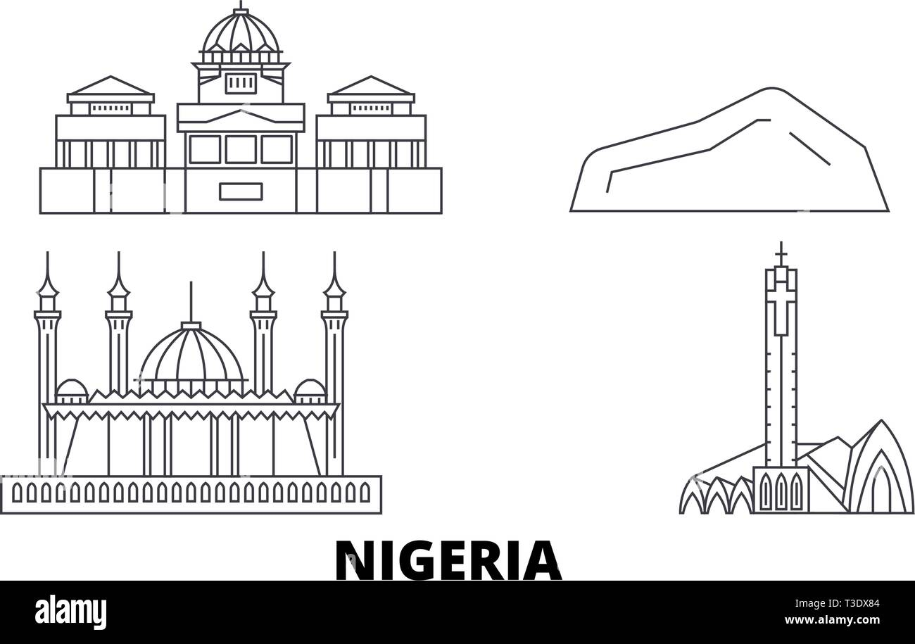Nigeria line travel skyline set. Nigeria outline city vector illustration, symbol, travel sights, landmarks. - Stock Image