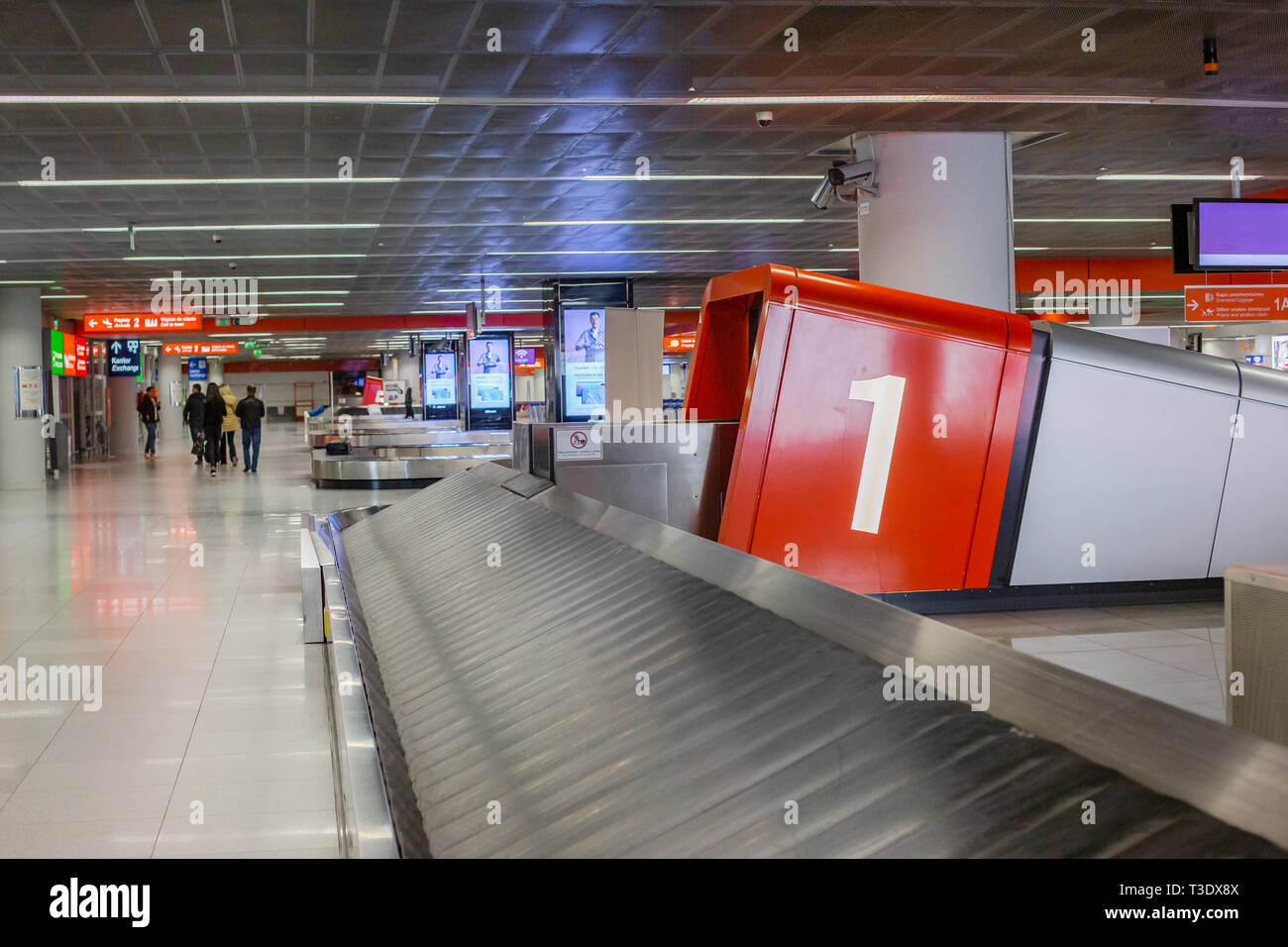 Scanner for baggage inspection. Empty tape to move hand luggage when scanning at the customs at the airport. - Stock Image