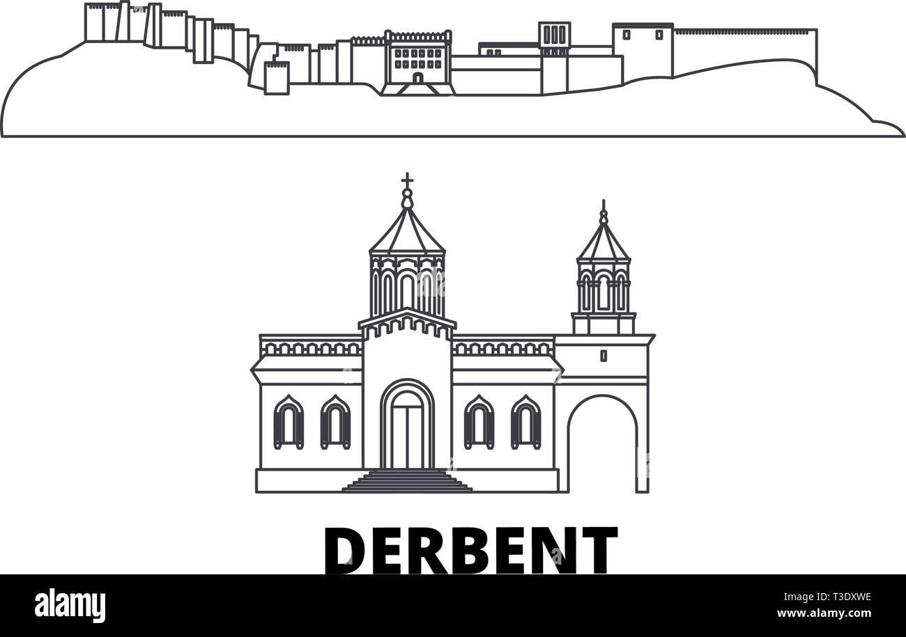 Russia, Derbent line travel skyline set. Russia, Derbent outline city vector illustration, symbol, travel sights, landmarks. - Stock Vector