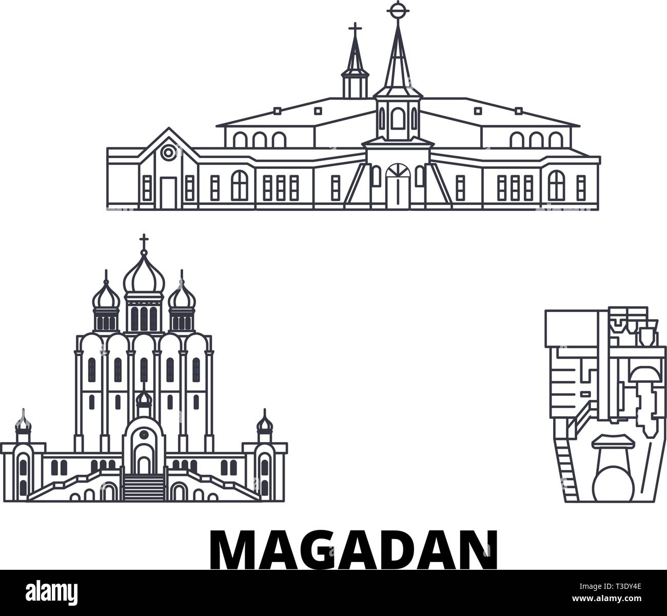 Russia, Magadan line travel skyline set. Russia, Magadan outline city vector illustration, symbol, travel sights, landmarks. - Stock Vector