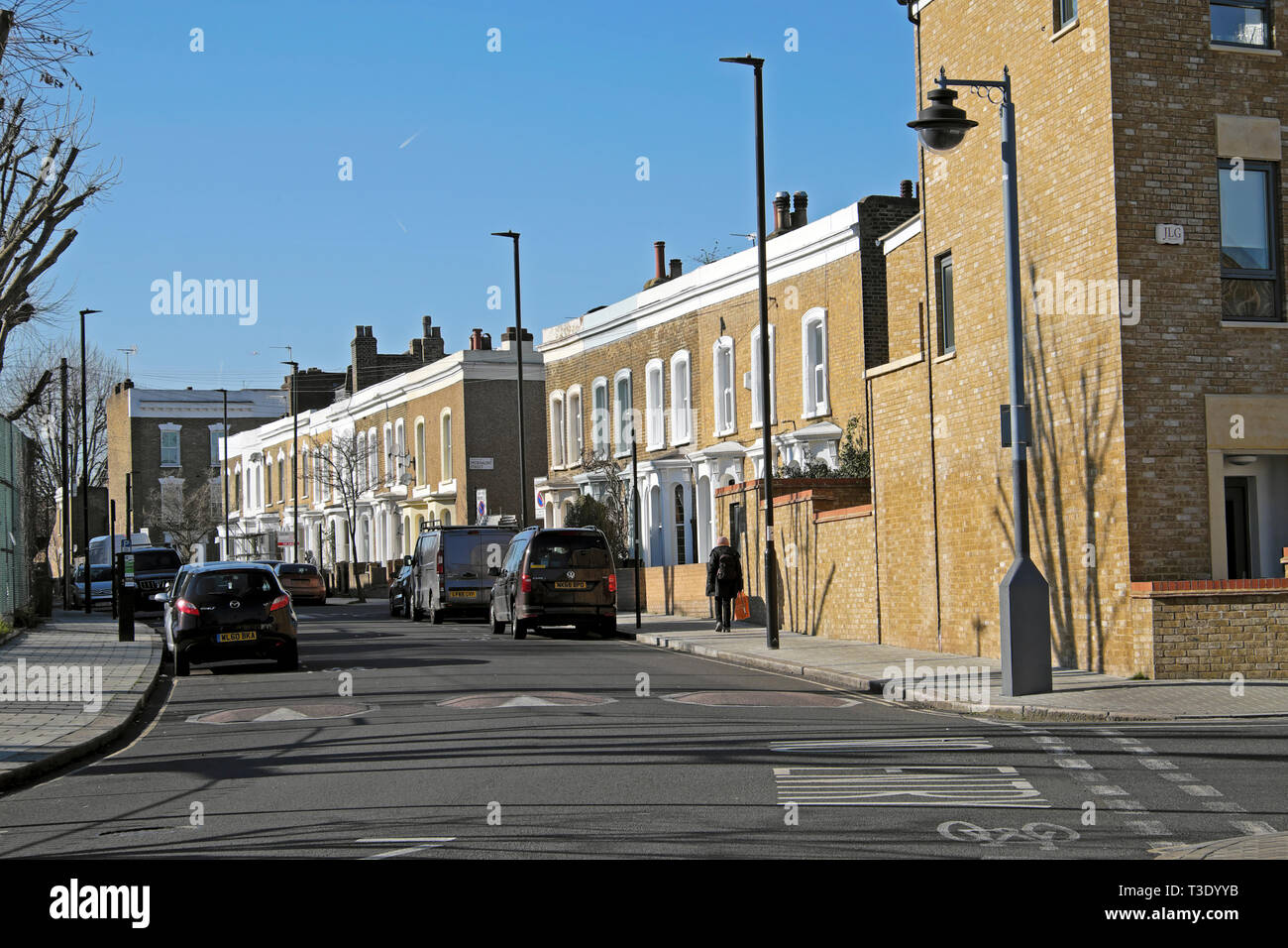 View of terrace houses on Pulross Road in Brixton South London England UK  KATHY DEWITT Stock Photo