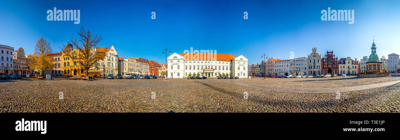 Panorama of the market and city hall of Wismar, Germany - Stock Image