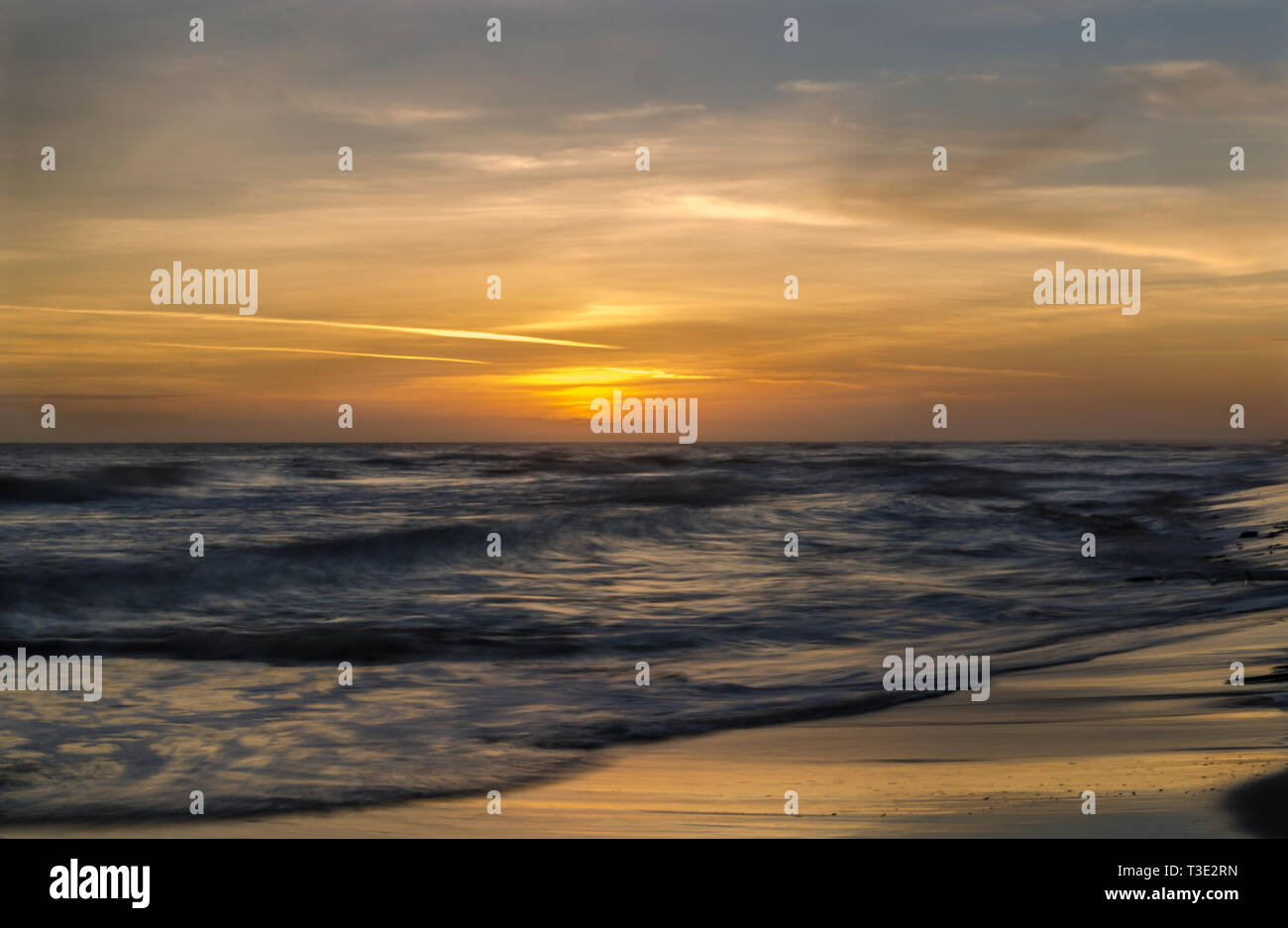The sun sets on Dauphin Island's west end, Nov. 5, 2013. - Stock Image