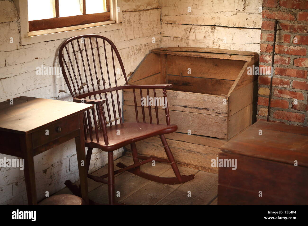 Interior of an American Pioneer Log Cabin - Stock Image