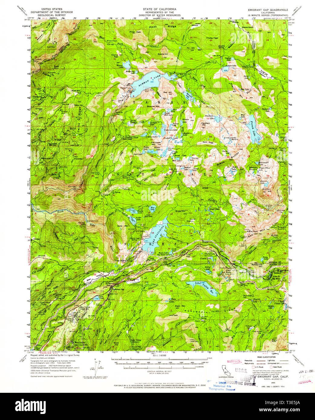 USGS TOPO Map California CA Emigrant Gap 297420 1955 62500 ... Donner P Map on