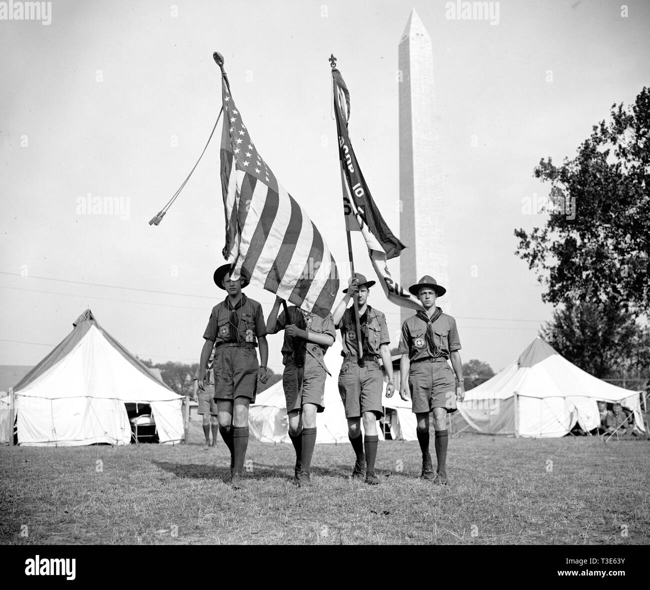 Boy Scouts Color Guard holding flags at the Boy Scout
