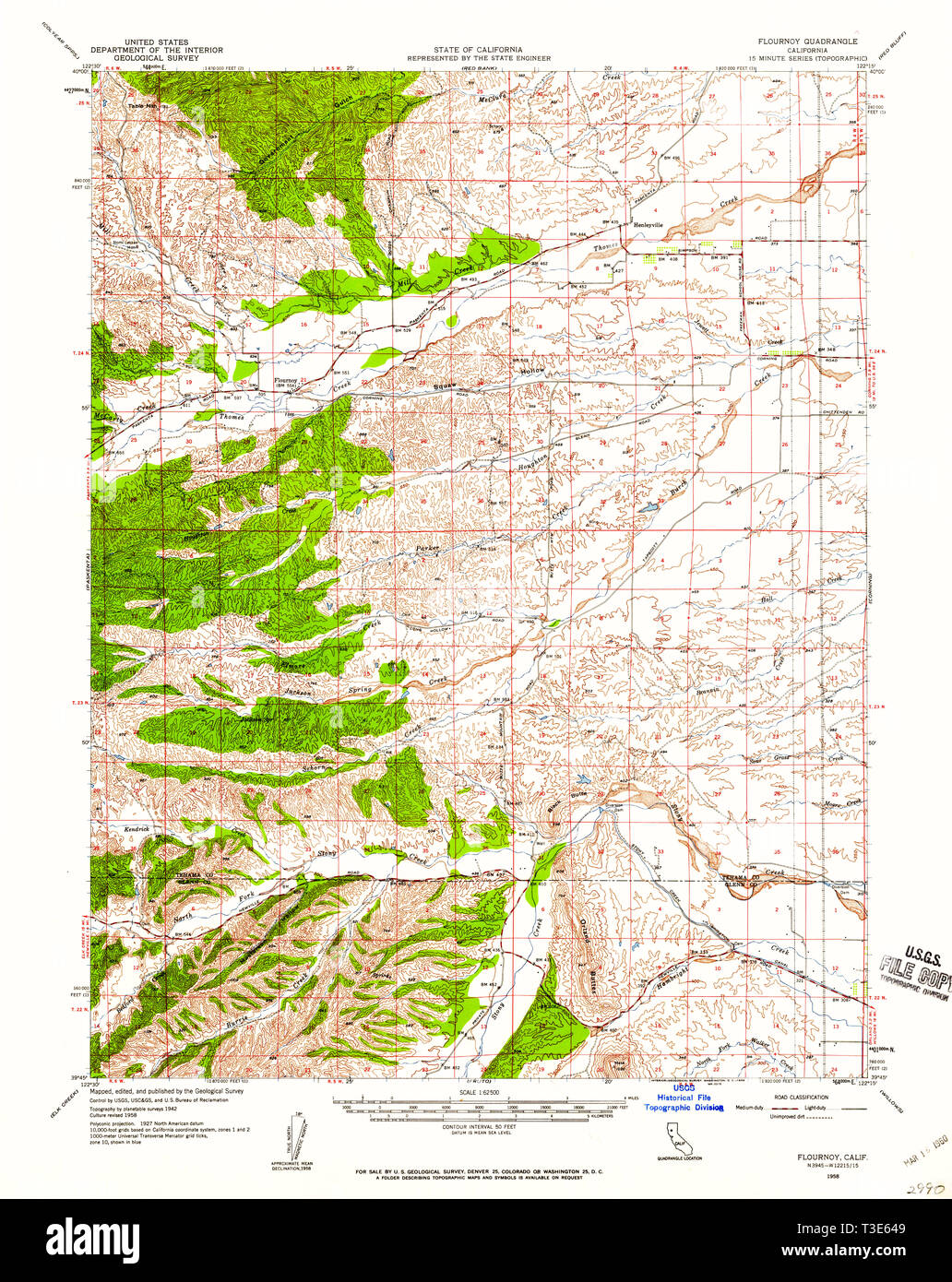 USGS TOPO Map California CA Flournoy 297471 1958 62500