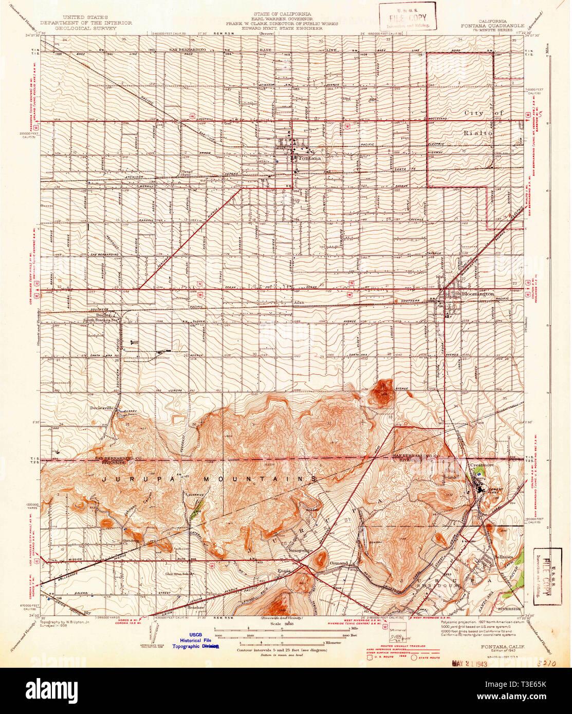 USGS TOPO Map California CA Fontana 296100 1943 31680 Restoration ...