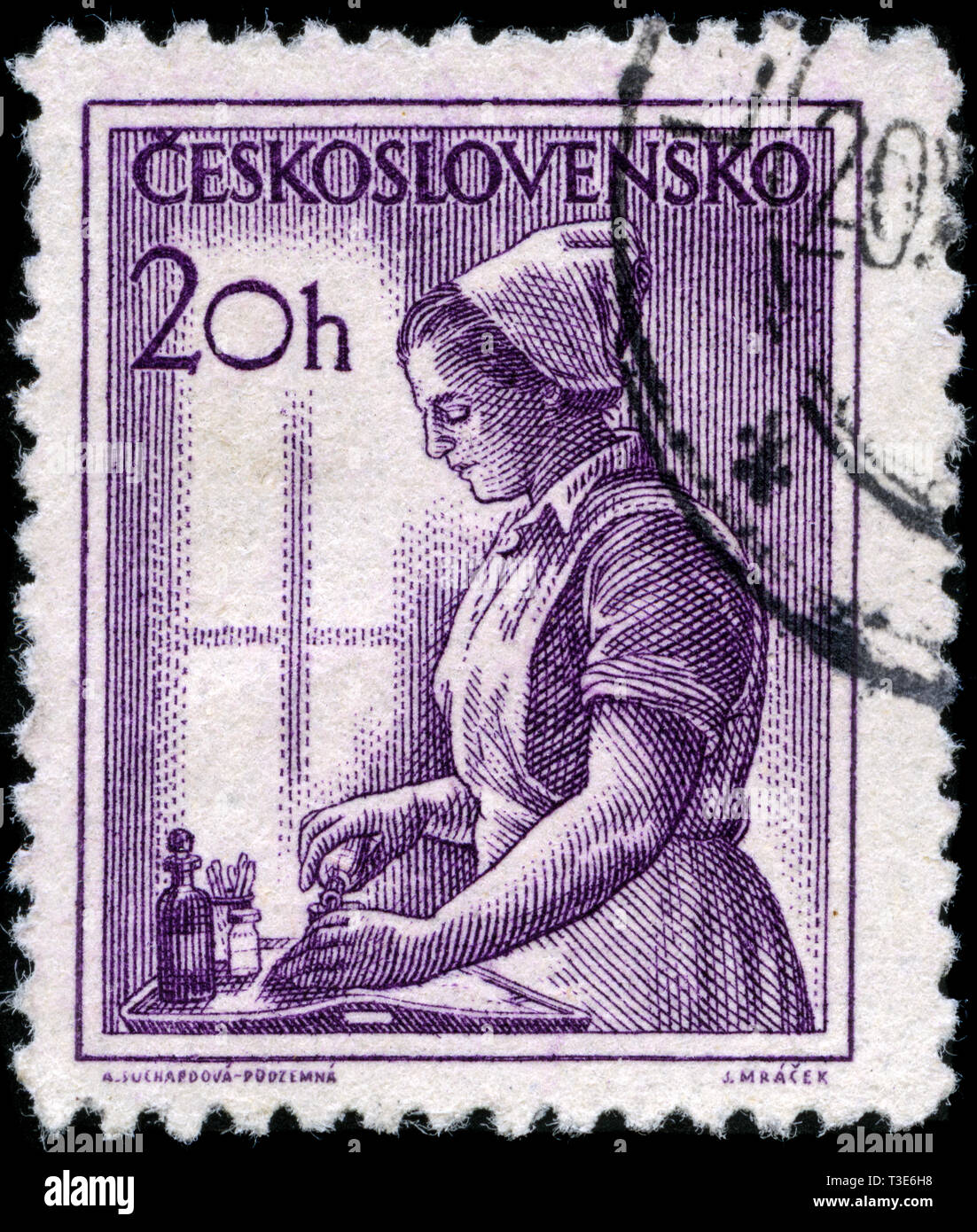 Postage stamp from the former state Czechoslovakia in the Professions series issued in 1954 - Stock Image