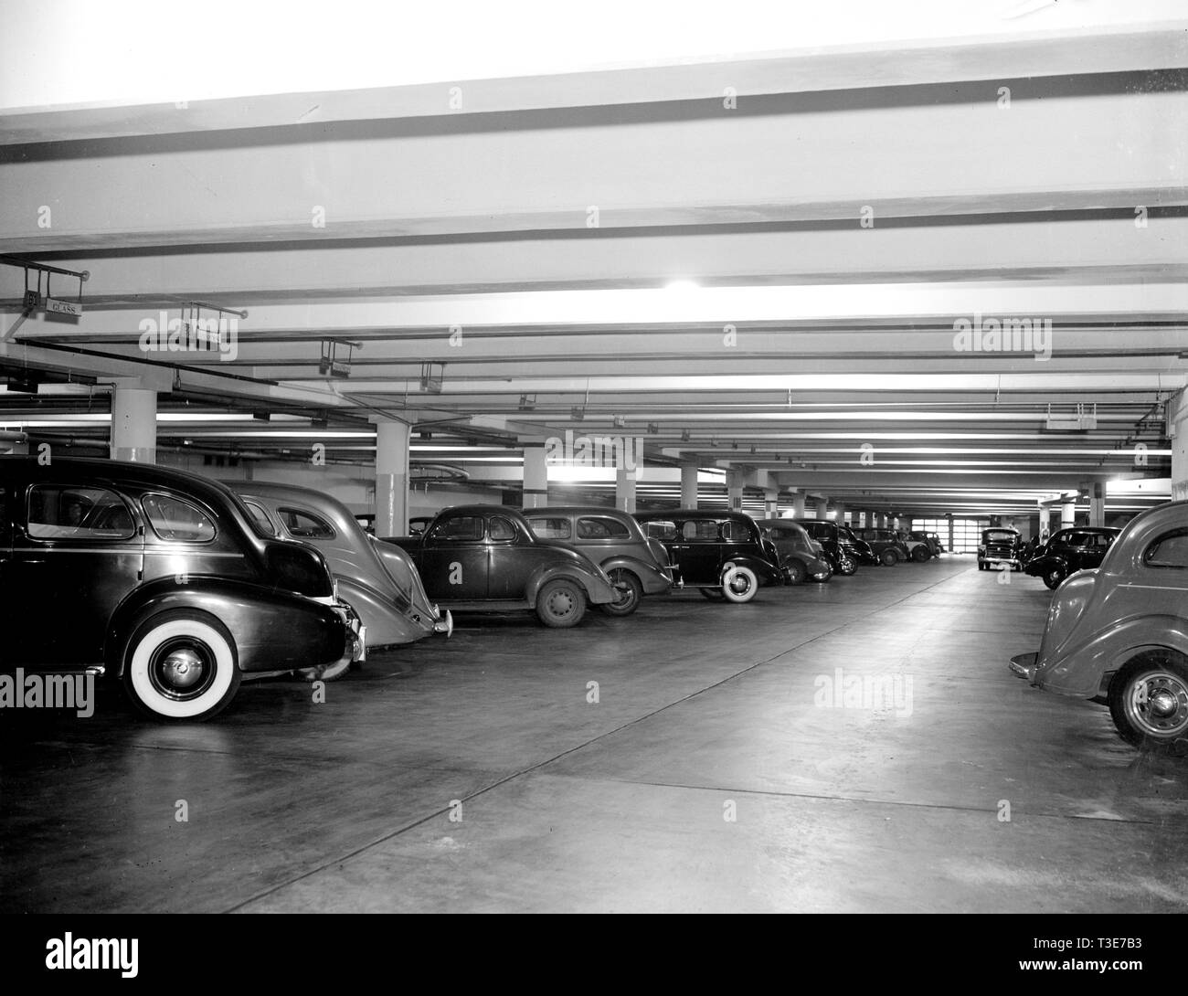 Cars parked in the U.S. Senate garage ca. 1938 - Stock Image