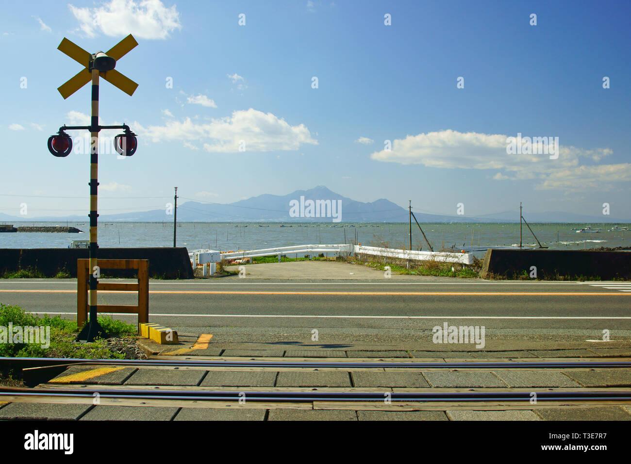 Mt. Unzen fugen and Ariake Sea, Kumamoto Prefecture, Japan Stock Photo