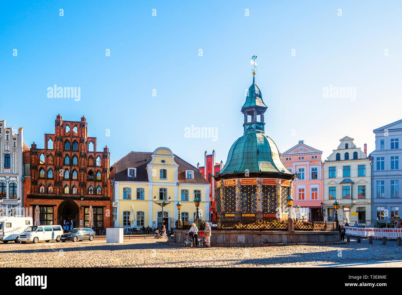 Market of Wismar, Germany - Stock Image