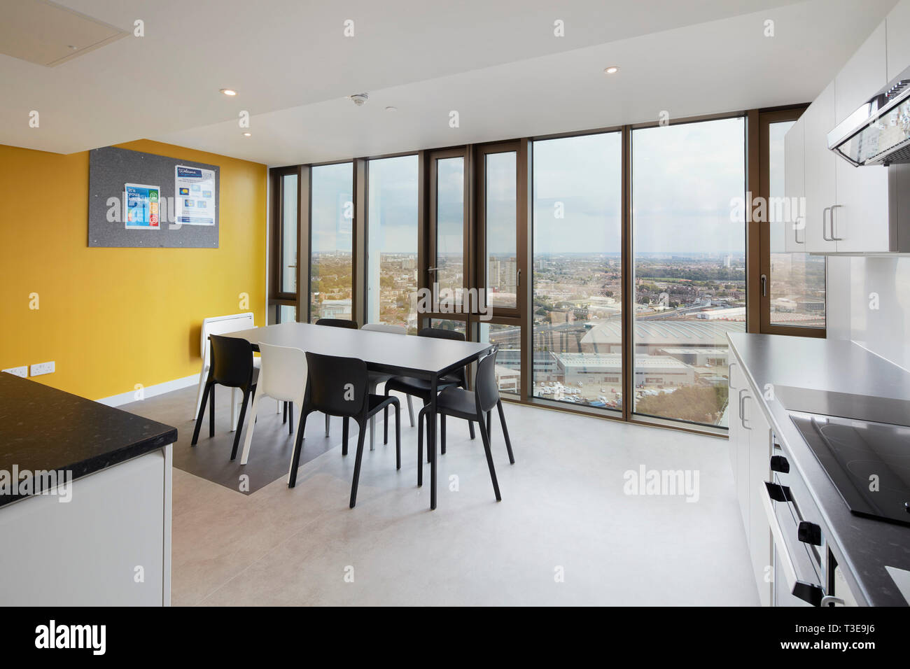 Kitchen With View Of East London. Stratford Tower, London, United Kingdom.  Architect: MJP Architects, 2018.