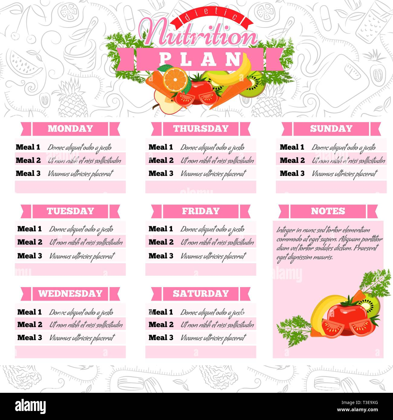Healthy Diet Planning Healthy Food And Weekly Meal Plan Schedule Dietic Timetable Vector Illustration Stock Vector Image Art Alamy