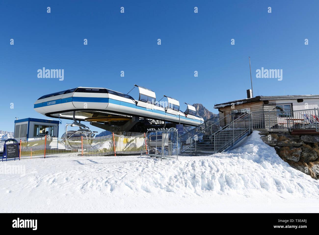 Final destination Punta Ces, ski resort, San Martino di Castrozza, Trentino, Italy, Europe - Stock Image