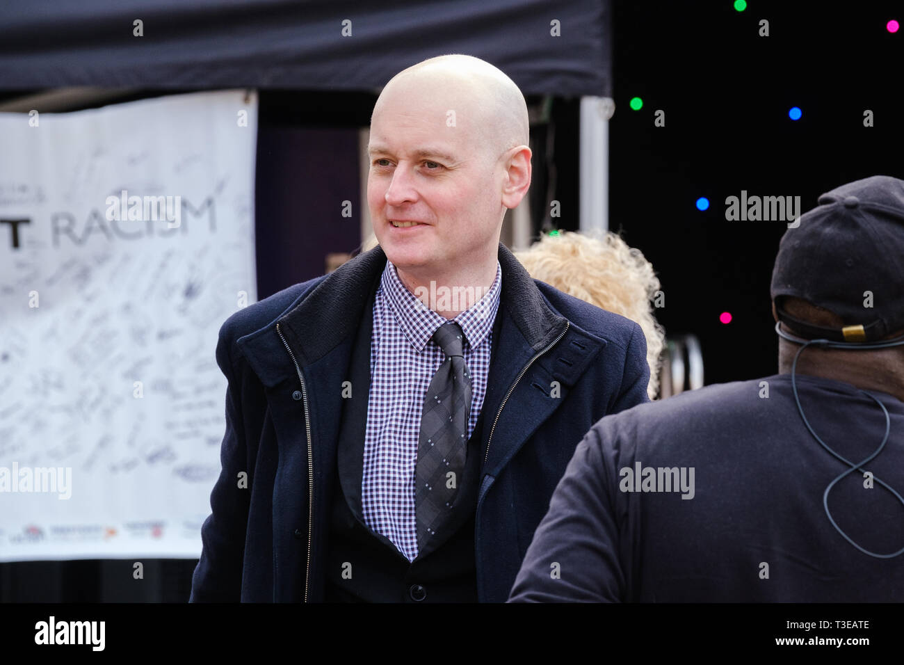 Councillor Matthew Brown, Leader of the Labour led Preston City Council at an anti-racism rally on the Flag Market in the City Centre. - Stock Image
