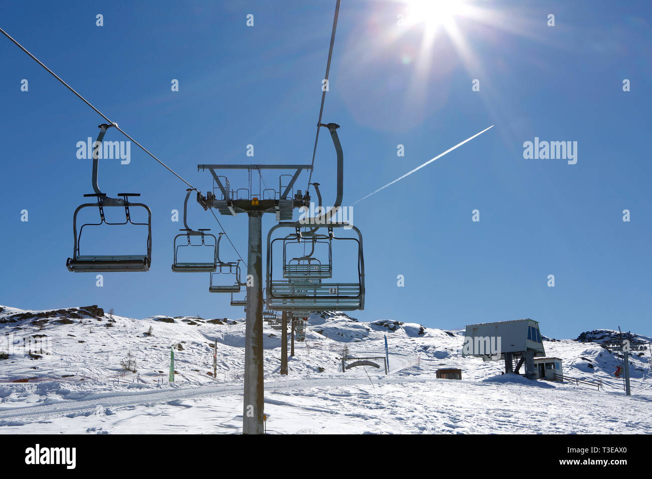 View from the chair lift, ski resort, San Martino di Castrozza, Trentino, Italy, Europe Stock Photo