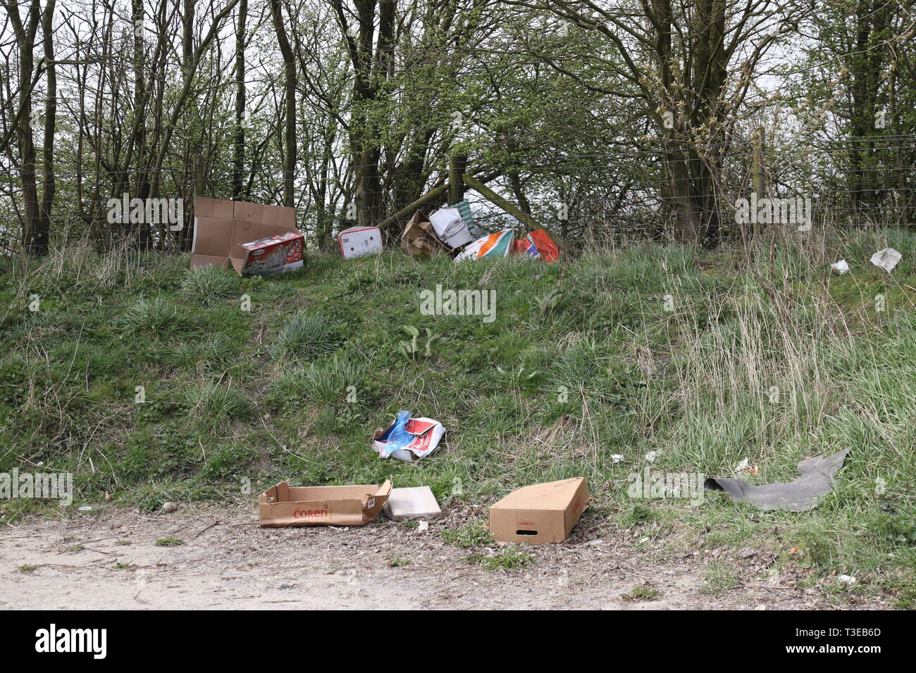 Watergrove Rochdale Lancashire UK- A local beauty spot that has been spoilt by people dumping rubbish. - Stock Image