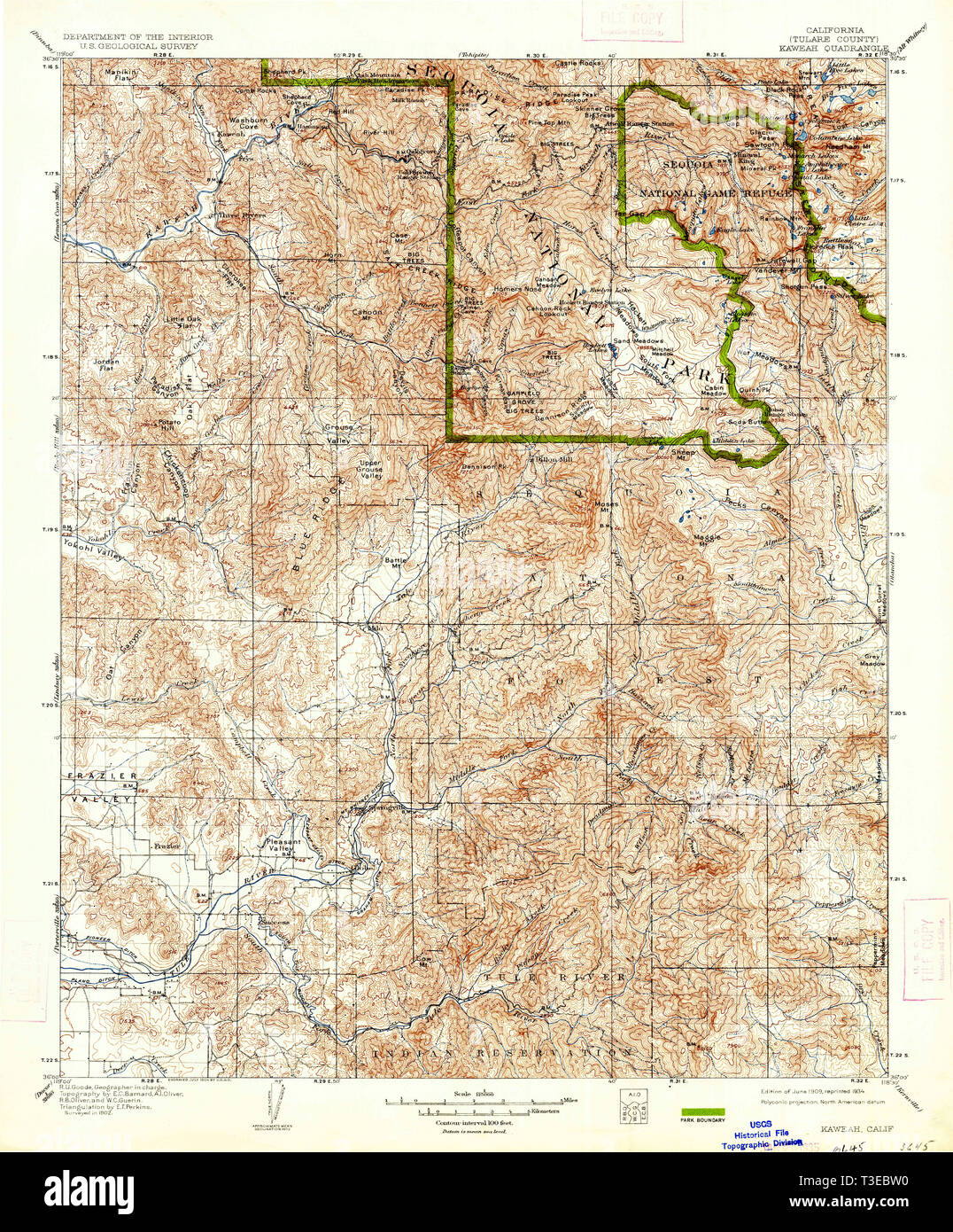 USGS TOPO Map California CA Kaweah 299405 1909 125000 Restoration ...