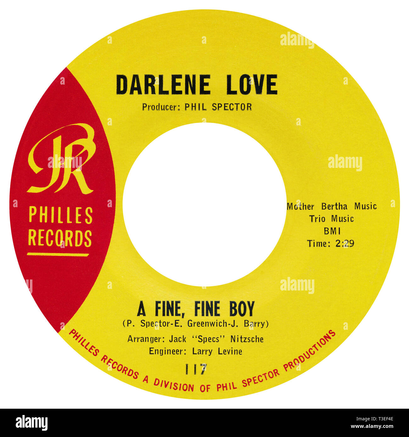 US 45 rpm single of A Fine, Fine Boy by Darlene Love on the Philles label from 1963. Written by Phil Spector, Ellie Greenwich and Jeff Barry, produced by Phil Spector and arranged by Jack Nitzsche. Stock Photo