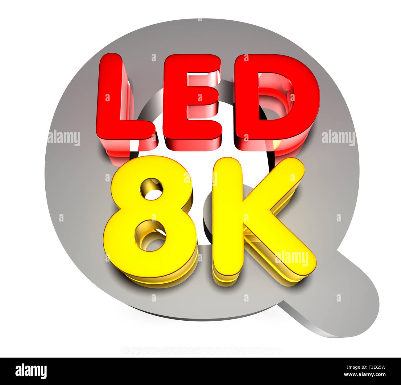 Q lED 8K 3D rendering on white background.With Clipping path. - Stock Image