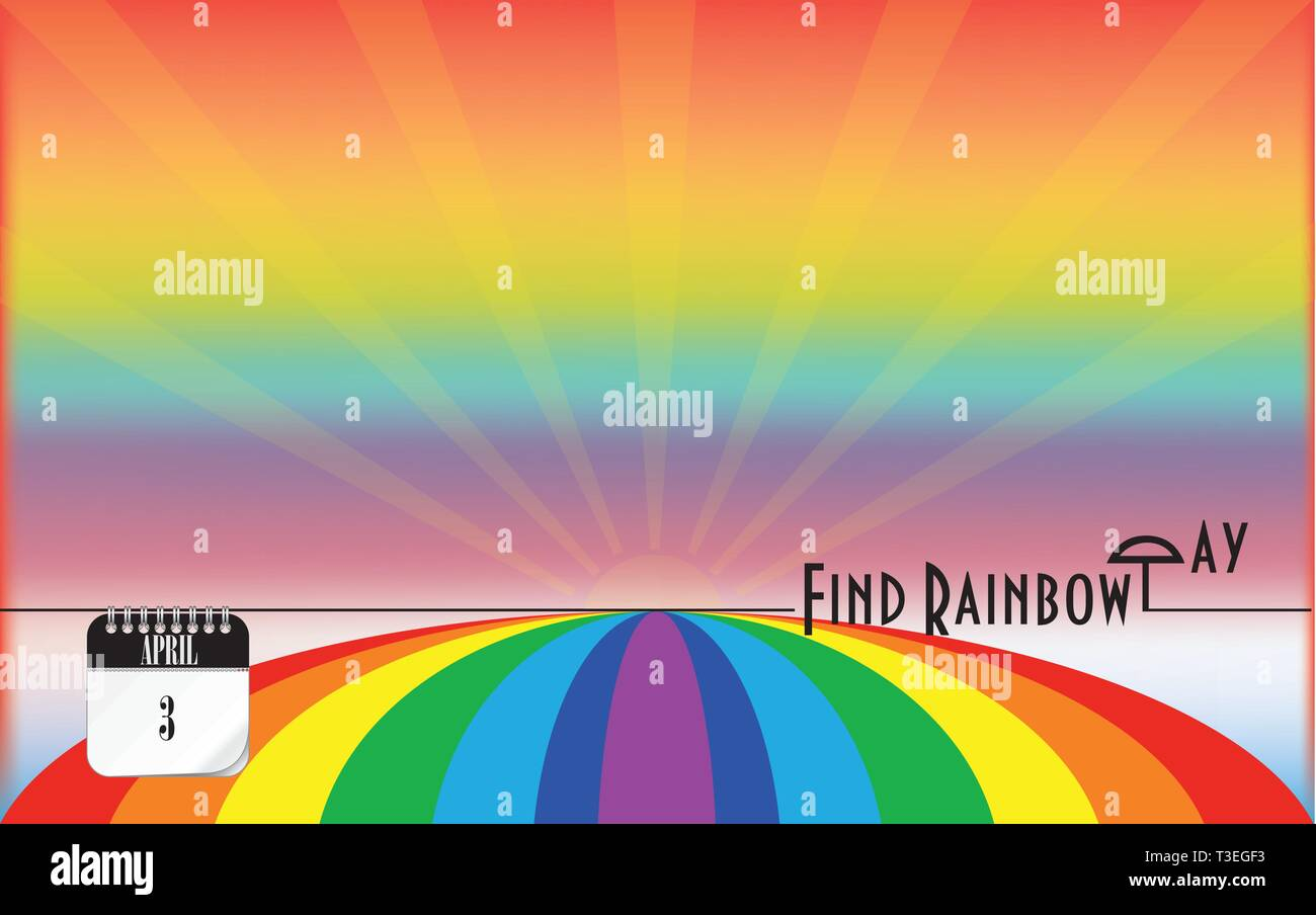 Post card Find Rainbow Day. Color seven-color. Stock Vector