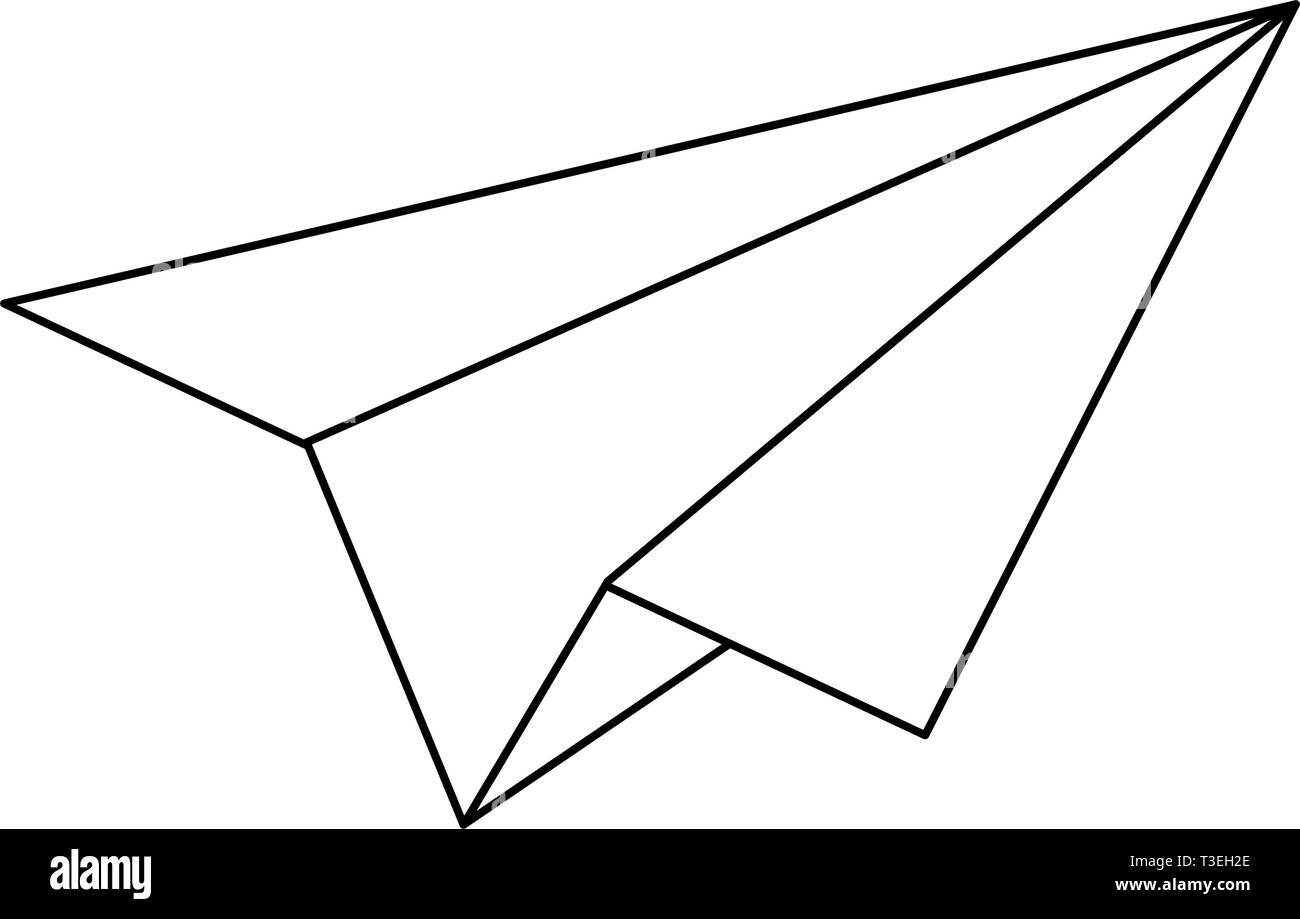 Paper plane symbol isolated in black and white - Stock Image