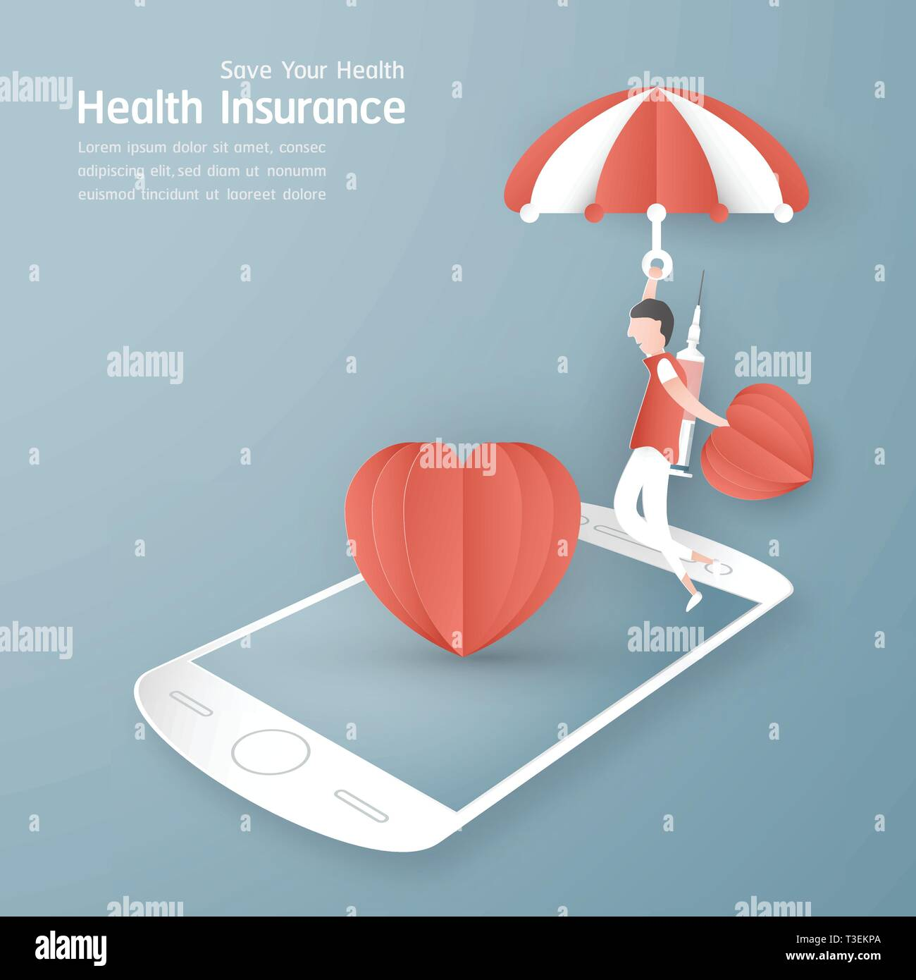 Vector illustration in concept of health insurance. Template design is on pastel blue background for cover, web banner, poster, slide presentation. Ar - Stock Image
