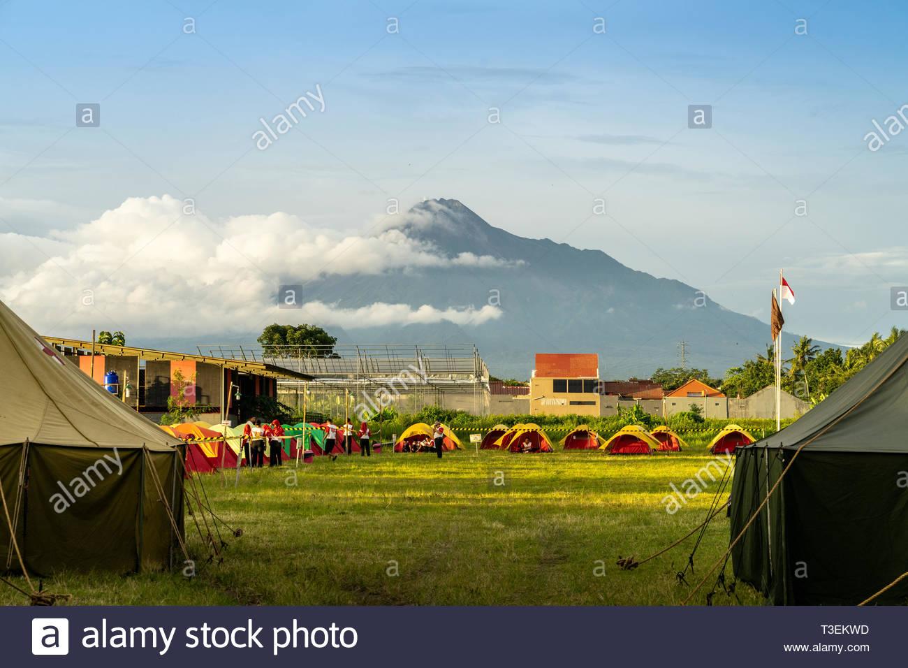 Merapi volcano in indonesia - Stock Image