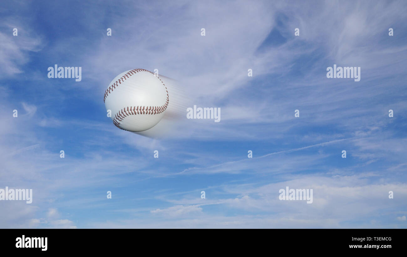 6b16f7f945c3 Baseball freeze-frame with speed blur effect on a blue sky background -  Stock Image