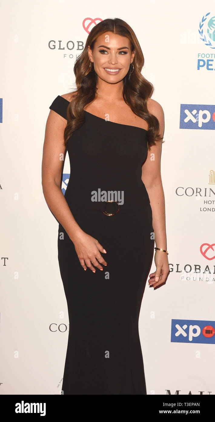 Photo Must Be Credited ©Alpha Press 079965 08/04/2019 Jessica Wright  at the Football for Peace initiative dinner by Global Gift Foundation at The Corinthia Hotel London - Stock Image