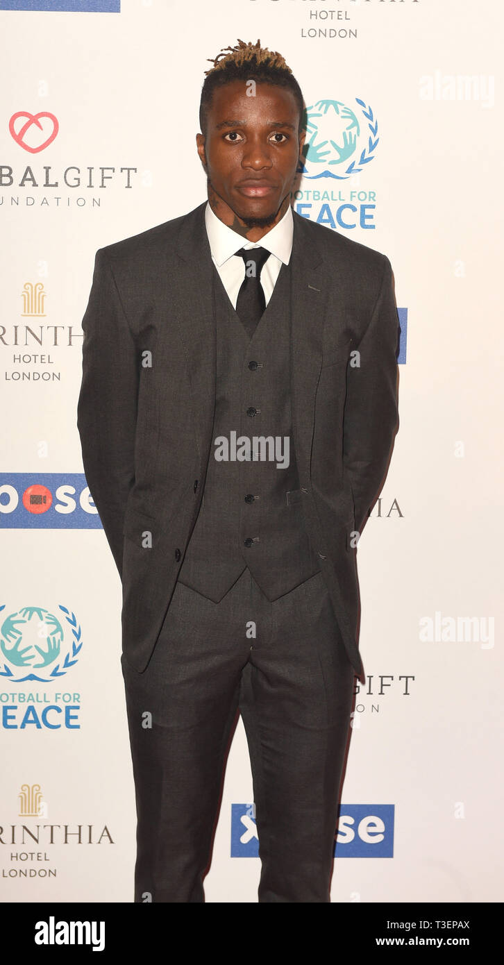 Photo Must Be Credited ©Alpha Press 079965 08/04/2019  Wilfried Zaha  at the Football for Peace initiative dinner by Global Gift Foundation at The Corinthia Hotel London - Stock Image