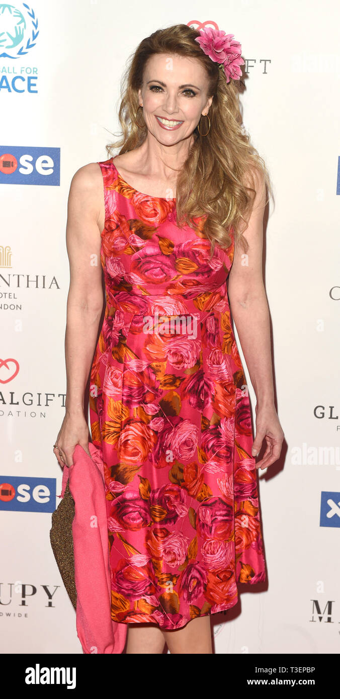 Photo Must Be Credited ©Alpha Press 079965 08/04/2019 Emma Samms at the Football for Peace initiative dinner by Global Gift Foundation at The Corinthia Hotel London - Stock Image