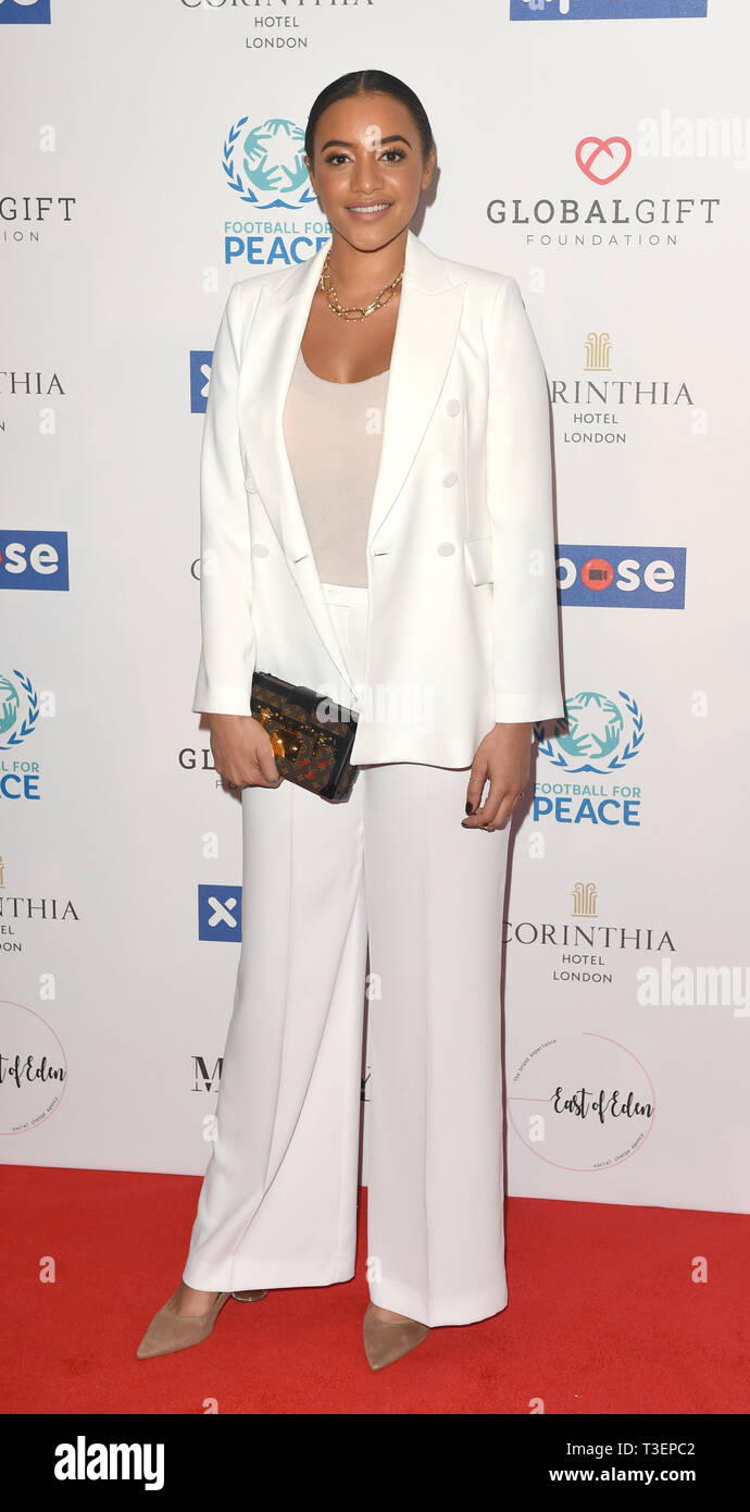 Photo Must Be Credited ©Alpha Press 079965 08/04/2019 Amal Fashanu  at the Football for Peace initiative dinner by Global Gift Foundation at The Corinthia Hotel London - Stock Image