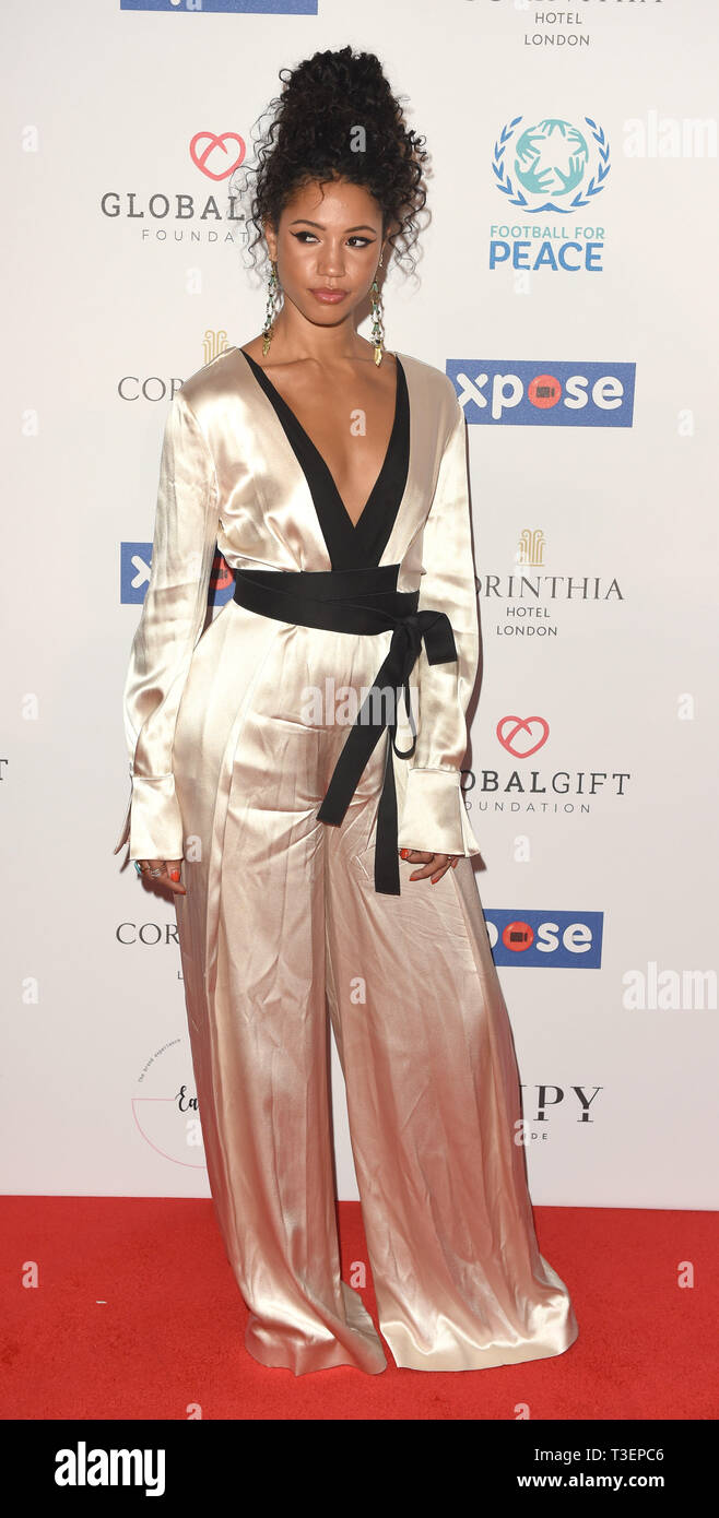 Photo Must Be Credited ©Alpha Press 079965 08/04/2019 Vick Hope at the Football for Peace initiative dinner by Global Gift Foundation at The Corinthia Hotel London - Stock Image