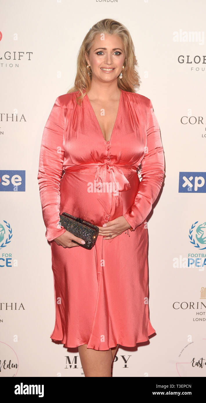 Photo Must Be Credited ©Alpha Press 079965 08/04/2019 Hayley McQueen at the Football for Peace initiative dinner by Global Gift Foundation at The Corinthia Hotel London - Stock Image