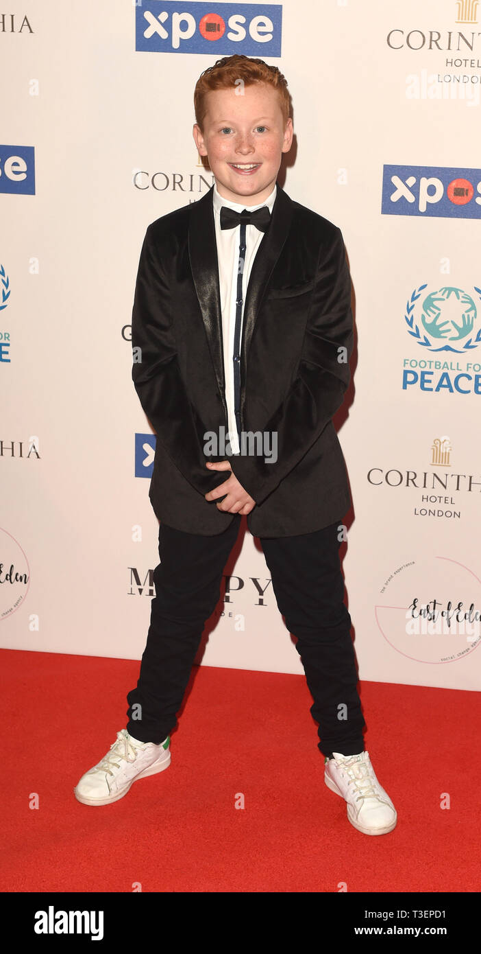 Photo Must Be Credited ©Alpha Press 079965 08/04/2019 Braydon Bent at the Football for Peace initiative dinner by Global Gift Foundation at The Corinthia Hotel London - Stock Image