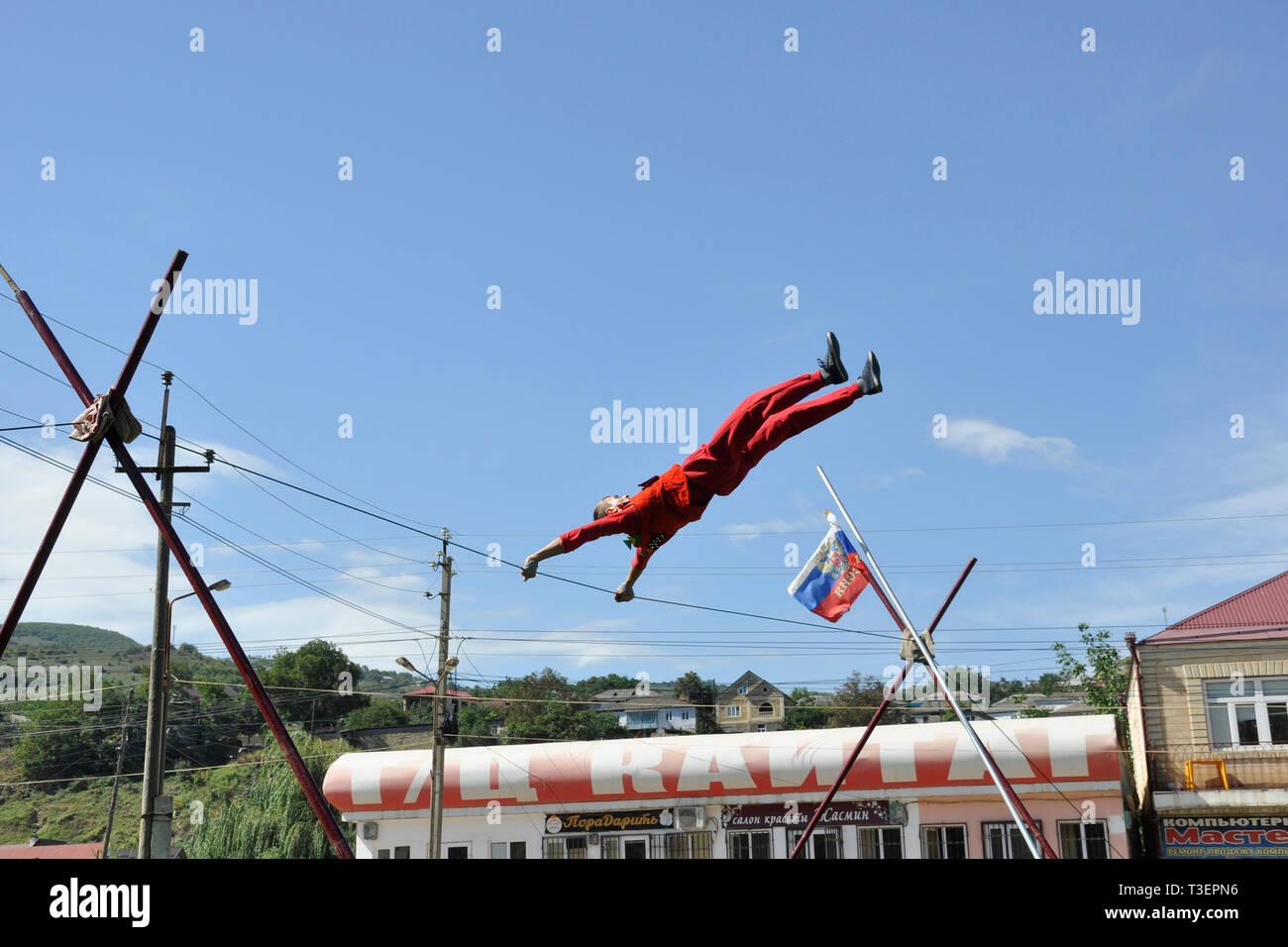 Russia, Dagestan, Majalis, tightrope walker - Stock Image