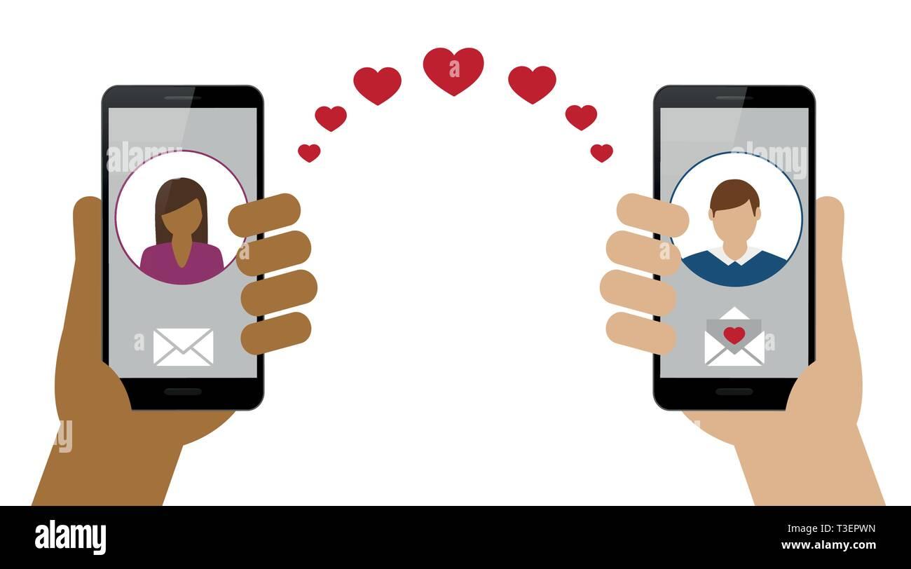 online dating between woman and man via smartphone vector illustration EPS10 Stock Vector