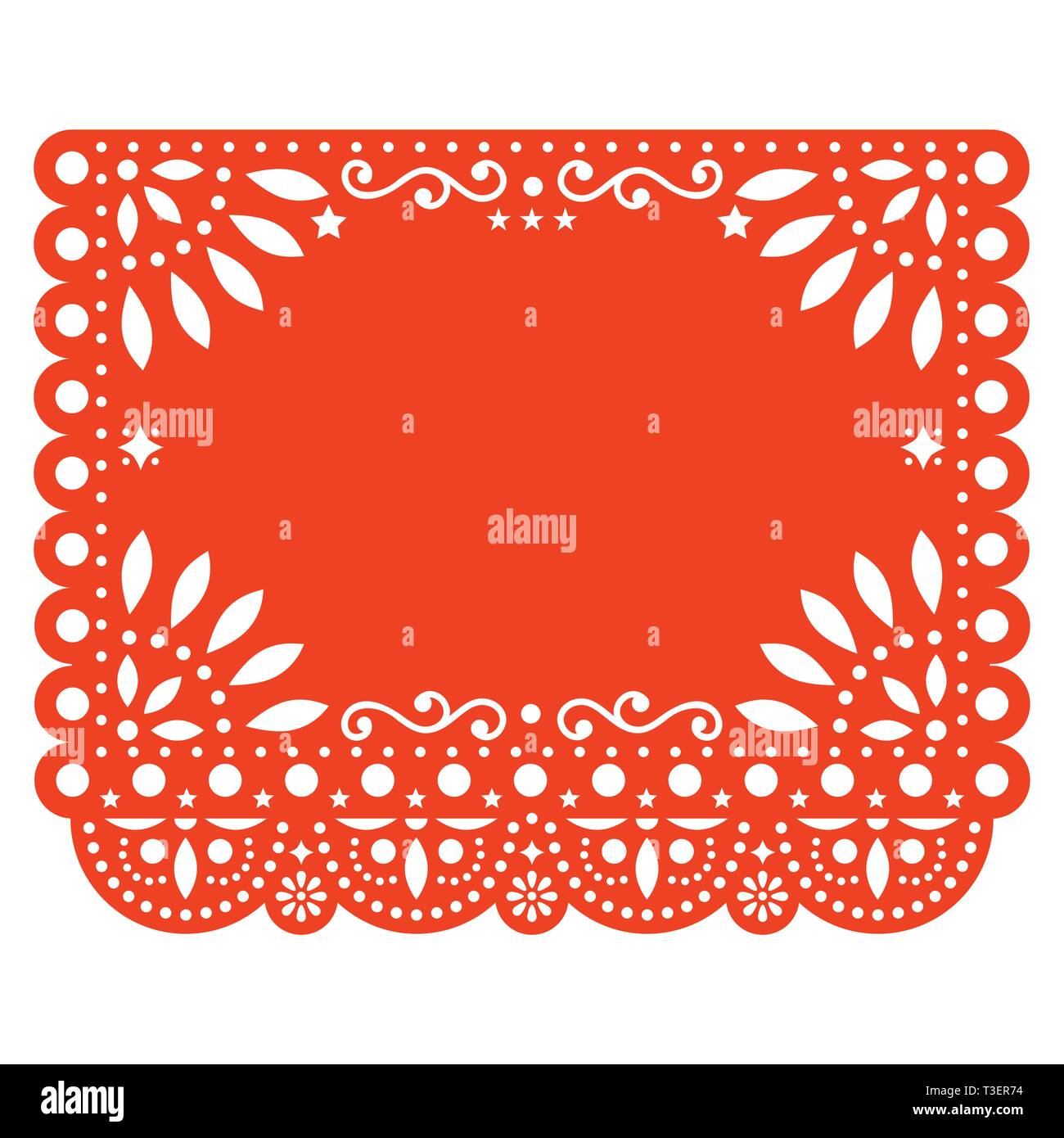 Papel Picado Vector Floral Template Design With Abstract